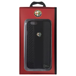 Alfa Romeo 公式ライセンス品 High Quality Carbon Synthettic Leather back cover  Black iPhone6 用 AR-HCIP6-4C/D5-BK