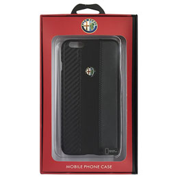 Alfa Romeo 公式ライセンス品 High Quality Carbon Synthettic Leather back cover  Black iPhone6 PLUS用 AR-HCIP6P-4C/D5-BK