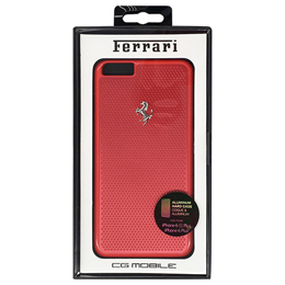 Ferrari 公式ライセンス品 PERFORATED - Hard Case - Aluminum Plate - Red FEPEHCP6LRE