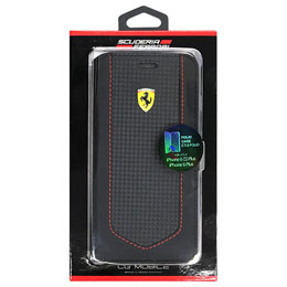 FERRARI 公式ライセンス品  VICTORY-Carbon PU Leather Booktype Case Black stitching red FEVIFLBKP6LBK