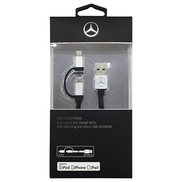 Mercedes-Benz 公式ライセンス品 Lightning-microUSB 2in1 USBケーブル MECBUBK