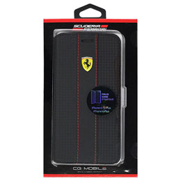 Ferrari 公式ライセンス品 RACING - Booktype Case - Red Trim - Black Carbon iPhone 6s Plus/6 Plus FENCFLBKP6LBK