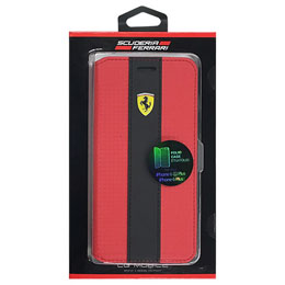 Ferrari 公式ライセンス品 RACING - Booktype Case - Red Trim - Red Carbon iPhone 6s Plus/6 Plus FENCFLBKP6LRE