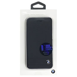 BMW 公式ライセンス品  Genuine Leather Booktype Case - Black iPhone 6/6S BMFLBKP6GSBK