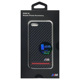 BMW 公式ライセンス品 Hard Case - PU Carbon Print - Stripe Pipping - Red iPhone SE BMHCPSEHSCR