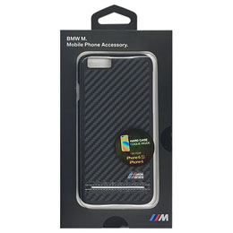 BMW 公式ライセンス品 Hard Case - PU Carbon Print - Stripe Pipping - Silver iPhone 6/6S BMHCP6HSCS