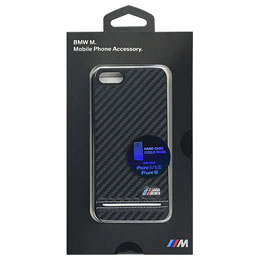 BMW 公式ライセンス品 Hard Case - PU Carbon Print - Stripe Pipping - Silver iPhone SE BMHCPSEHSCS