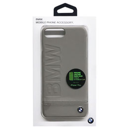 BMW iPhone7 Plus専用本革ハードケース PC Hard Case - Logo Imprint - Genuine Leather - Taupe BMHCP7LLLST