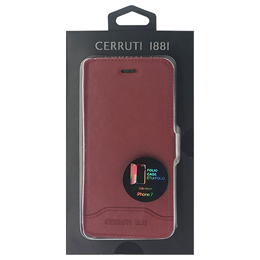 CERRUTI Smooth Split Leather - Booktype Case - Red  CEFLBKP7SLRE