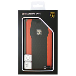 LAMBORGHINI iPhone7 Plus専用本革手帳型ケース Genuine Leather S-Skin Flip Case - Orange LB-TPUFCIP7P-HU/D8-OE