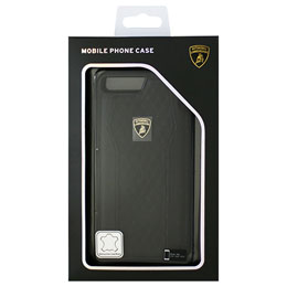 LAMBORGHINI iPhone7 Plus専用本革ハードケース Genuine Leather S-Skin Case - Black LB-TPUPCIP7P-HU/D8-BK