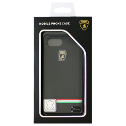 LAMBORGHINI iPhone7専用本革ハードケース Genuine Leather Ultra Slim Backcover - Black LB-HCIP7-TR/D8-BK