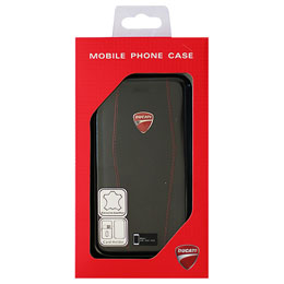 DUCATI iPhone7専用本革手帳型ケース Genuine Leather Flip Case - Black DU-TPUFCIP7-DI/D1-BK