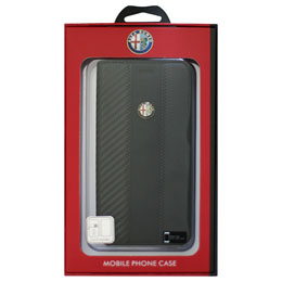 Alfa Romeo iPhone7 Plus専用カーボン調手帳型ケース High Quality Carbon Synthetic Leather Flip Case AR-SSHFCIP7P-4C/D5-BK