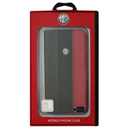 Alfa Romeo iPhone7 Plus専用カーボン調手帳型ケース High Quality Carbon Synthetic Leather Flip Case AR-SSHFCIP7P-4C/D5-RD