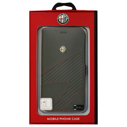 Alfa Romeo iPhone7 Plus専用PUレザー手帳型ケース Synthetic Leather Ultra Slim Flip Case 4C collection Black AR-SSHFCIP7P-4C/D2-BK