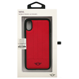 MINI 公式ライセンス品 iPhoneX専用 PUレザーハードケース PC/TPU Hybrid Case - Debossed Lines - PU Leather - Red iPhone XMIDAHCPXRE