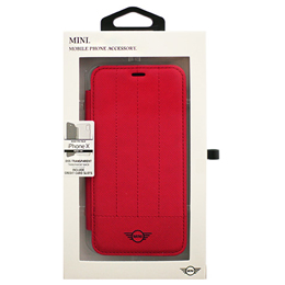 MINI 公式ライセンス品 iPhoneX専用 PUレザー手帳型ケース PC Transparent Booktype Case - PU Leather - Debossed Lines - Red iPhone XMIDAFLBKTPXRE