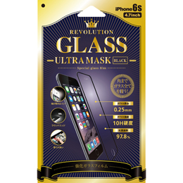 Revolution GLASS Ultra MASK BLACK iPhone 6Sガラス保護フィルム 302866